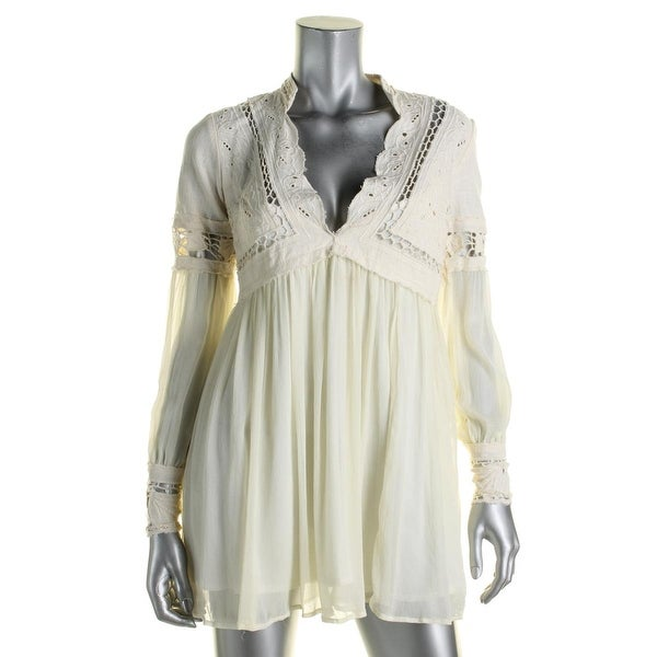 Free People Womens Dreamland Mini Dress Mixed Media Lace Inset