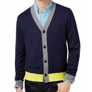 Tommy Hilfiger NEW Blue Mens Size Large L Colorblock Cardigan Sweater