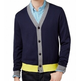 Tommy Hilfiger NEW Blue Yellow Mens Large L Colorblock Cardigan Sweater