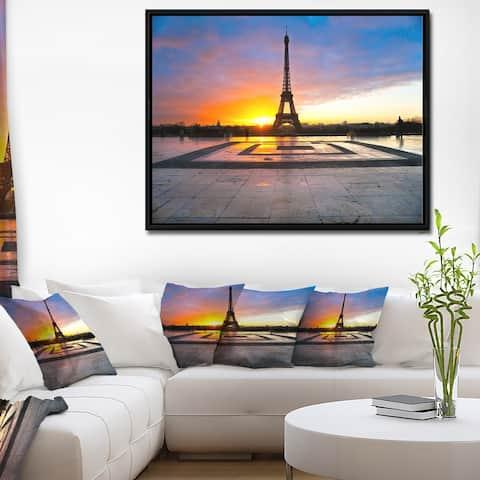 Designart 'Paris Eiffel Towerat Beautiful Sunrise' Landscape Photography Framed Canvas Print