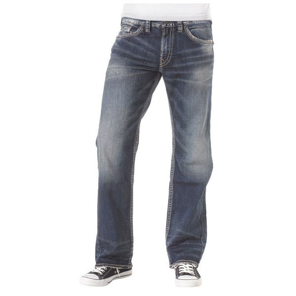 Silver Jeans Denim Mens Zac Relaxed Straight Medium Wash M4408SJB380