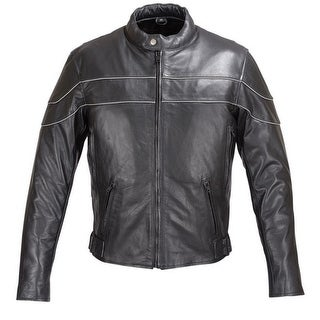 Reflective Stripe Leather Motorcycle Jacket Black FJ4