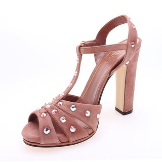 Gucci Women's Suede Studded Strappy Heel Pink - 6.5 us (36.5 eur)