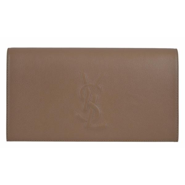 4cece4944d6 Saint Laurent YSL 361120 Beige Leather Large Belle de Jour Clutch Handbag