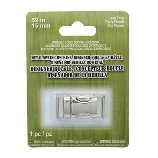 Paracord Accessory, Spring Release Metal Buckle 15mm / .59 Inches, 1 Piece, Silver Tone