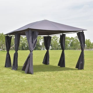 Costway Outdoor 10'x13' Gazebo Canopy Tent Shelter Awning Steel Frame W/Walls Gray