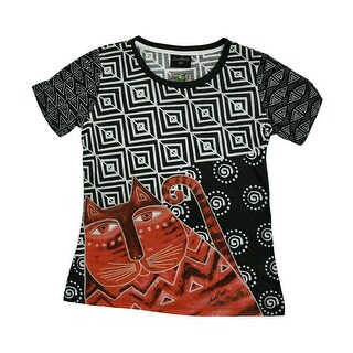 Laurel Burch Red Feline Black and White Short Sleeve Ladies T-Shirt