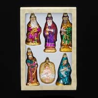 """Set of 6 Noble Gems Glass The Holy Family Nativity Christmas Ornament 4.75"""""""