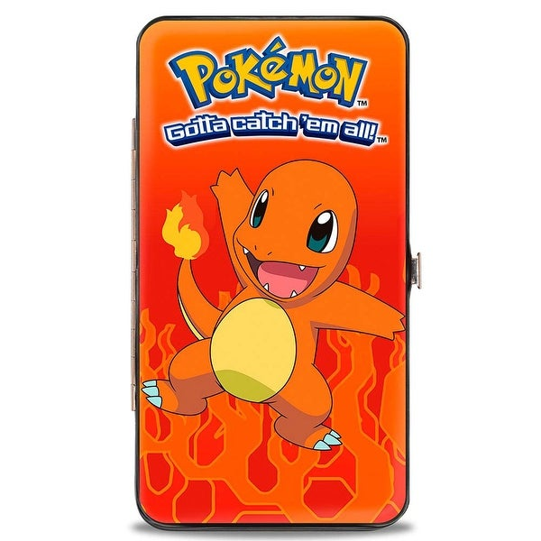 Pokmon Charmander Standing Pose Flame Reds Orange Hinged Wallet - One Size Fits most