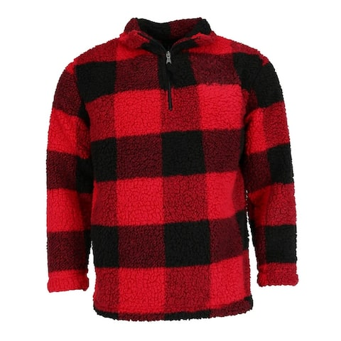 Boxercraft Adult Sherpa Buffalo Plaid Quarter Zip Pullover