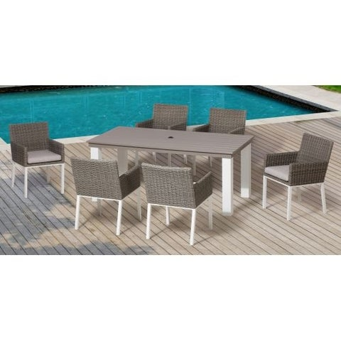 Miseno MPF700DS Macau Outdoor Dining Set with Aluminum Frame, Half Round Wicker and Sunbrella Fabric Cushions - N/A
