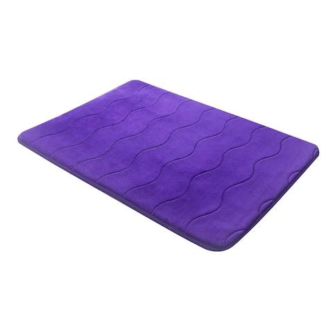 "Purple Wave Stitched Velvet Memory Foam Bath Mat Set 17""x24"" AND 24""x32"" Fast Drying Non Slip"