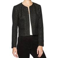 Nine West Black  Womens Size 4 Flyaway Sequined Tweed Jacket