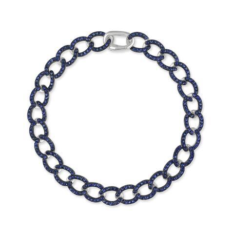 Sapphire Link Bracelet 14K White Gold 3.27 CT TGW