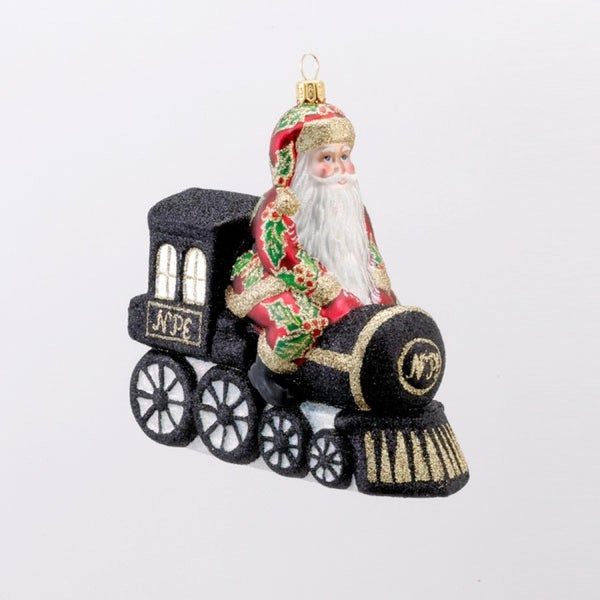 David Strand Designs Glass North Pole Express Train and Santa Christmas Ornament - black