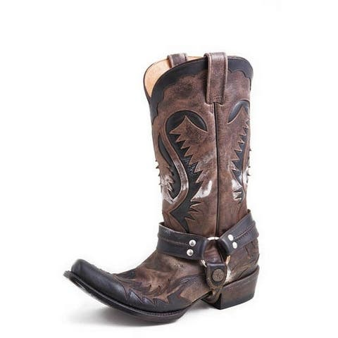 Stetson Western Boots Mens Outlaw Sq Brown Black