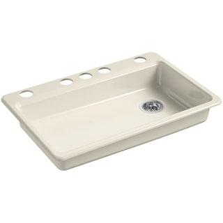 "Kohler K-8689-5U Riverby 33"" Single Basin Cast Iron Kitchen Sink for Undermount Installations"