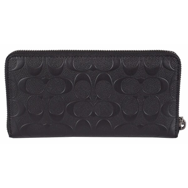 Coach Men's Black F75372 Signature Embossed Zip Around Accordion Wallet