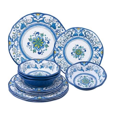 UPware 12-Piece Blue Floral Melamine Dinnerware Set