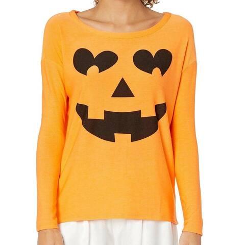 Chaser Women's Sweatshirt Orange Size Small S Crewneck Jack-O-Lantern