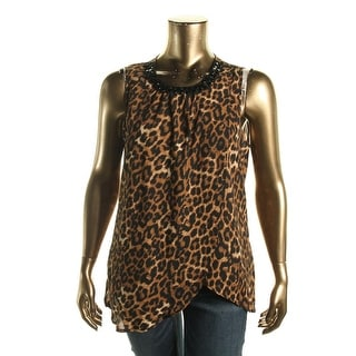 Cable & Gauge Womens Animal Print Embellished Blouse