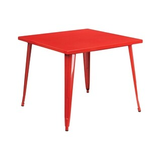 Offex 35.5'' Square Red Metal Indoor-Outdoor Table