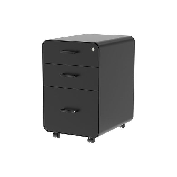 Monoprice Round Corner 3-Drawer File Cabinet - Black With Lockable Drawer - Workstream Collection