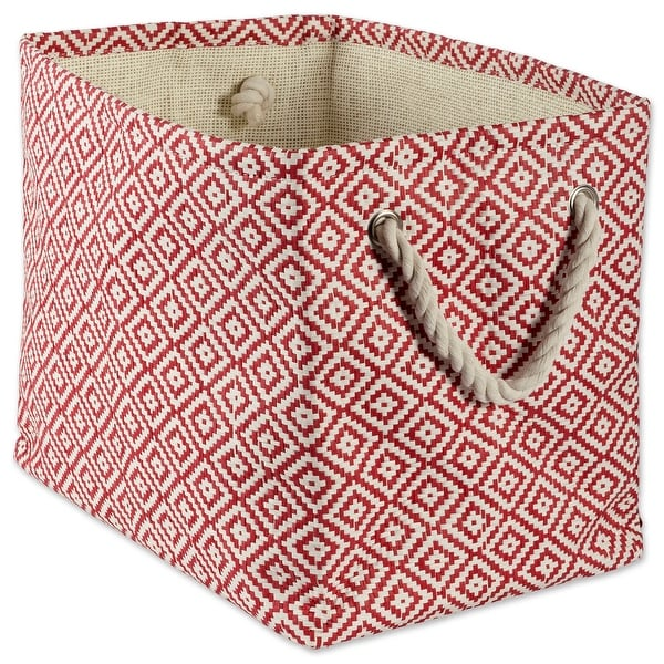 "15"" Rust Red and Ivory Medium Rectangular Bin with Rope Handles - N/A"