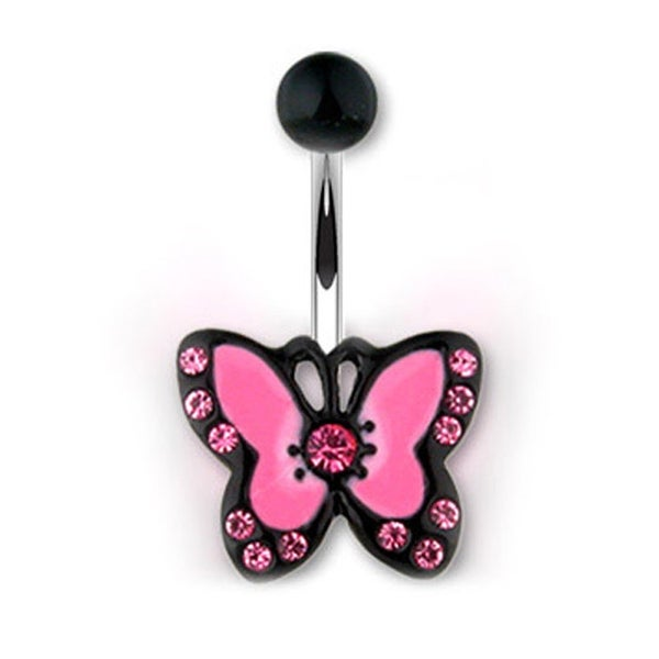 "Navel Belly Button Ring with Black and Pink CZ Butterfly - 14GA 7/16"" Long"