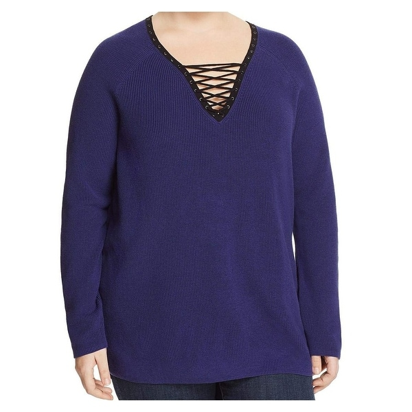 Nic + Zoe Blue Women's Size 3X Plus Lace Up Pullover Sweater