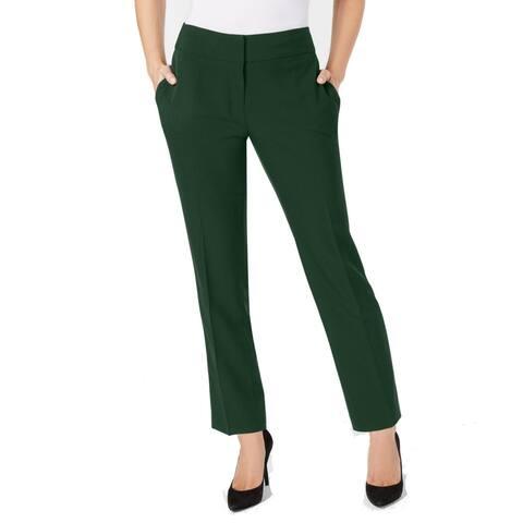 Kasper Womens Pants Green Size 16 Dress Mid-Rise Stretch Slim Leg