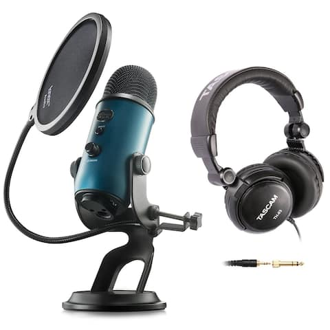 Blue Microphone Yeti USB Microphone (Teal) w/ Headphones & Pop Filter