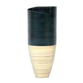 "20"" Spun Bamboo Vase - Bamboo In Distressed Blue & Natural Bamboo"