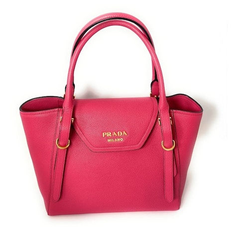 Prada Vitello Grain Magenta Pink Top Handle Crossbody Handbag 1BA270