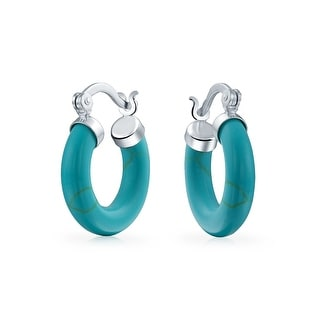 Bling Jewelry Small Round Hoop 925 Silver Synthetic Turquoise Earrings - Blue