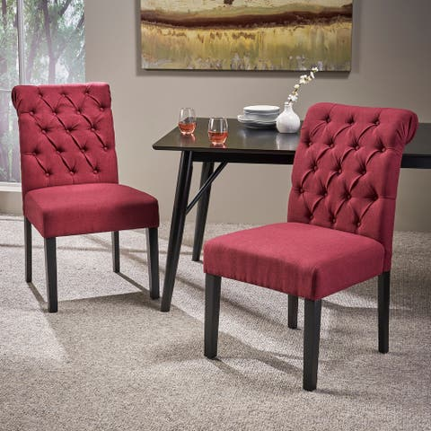 Broxton Tufted Rolltop Dining Chairs (Set of 2) by Christopher Knight Home