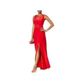Nightway Womens Evening Dress Illusion A-Line