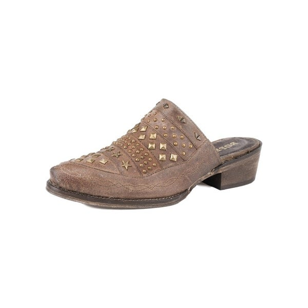 Roper Western Shoe Womens Slip On Studs Brown