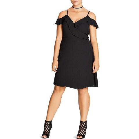 City Chic Womens Plus Lu Lu Wrap Dress Casual Textured