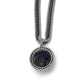Chisel Stainless Steel Polished Blue Sandstone with 2in ext. Reversible Necklace - 18 in