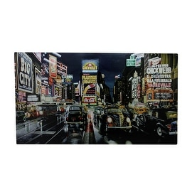 """LED Lighted Fiber Optic NYC Times Square Classic Cars Canvas Wall Art 15.75"""" x 23.75"""""""