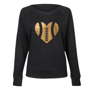 Football Heart Gold Foil-Ladies Lightweight French Terry Pullover