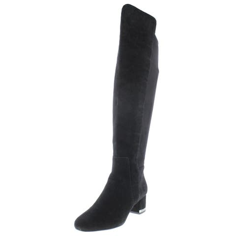 MICHAEL Michael Kors Womens Sabrina Over-The-Knee Boots Suede Chain Trim