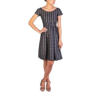 Prada Women's Wool Silk Blend Checkered Dress Grey - 4