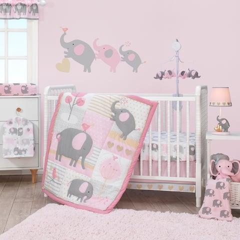 Bedtime Originals Eloise Pink/Gray/Gold/White Elephant 3-Piece Nursery Baby Crib Bedding Set