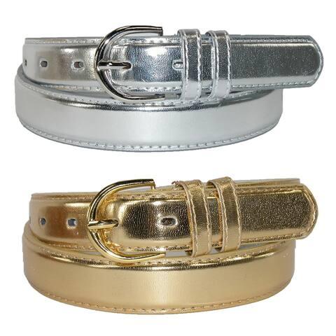 CTM® Women's Leather Metallic Dress Belt (Pack of 2 Colors)