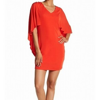 Trina Turk Red Grotto Womens Ruffled V-Neck Sheath Dress