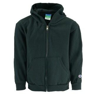 Champion Boy's Powerblend Full Zip Eco Fleece Hoodie - Black