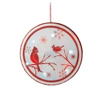 """14"""" LED Lighted Red Glittered Cardinal BirdChristmas Wall Decoration"""