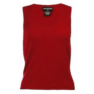 Sutton Studio Womens Cashmere Basic Tank Sweater Petite - Ruby - pxs
